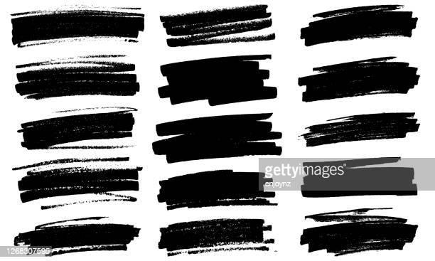 grunge black paint marker strokes vector - ink stock illustrations