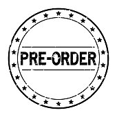 Grunge black pre order word with star icon round rubber seal stamp on white background