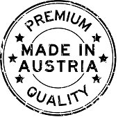 Grunge black premium quality made in Austria round rubber seal stamp on white background