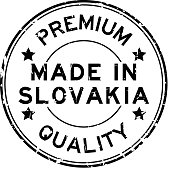 Grunge black premium quality made in Slovakia round rubber seal stamp on white background