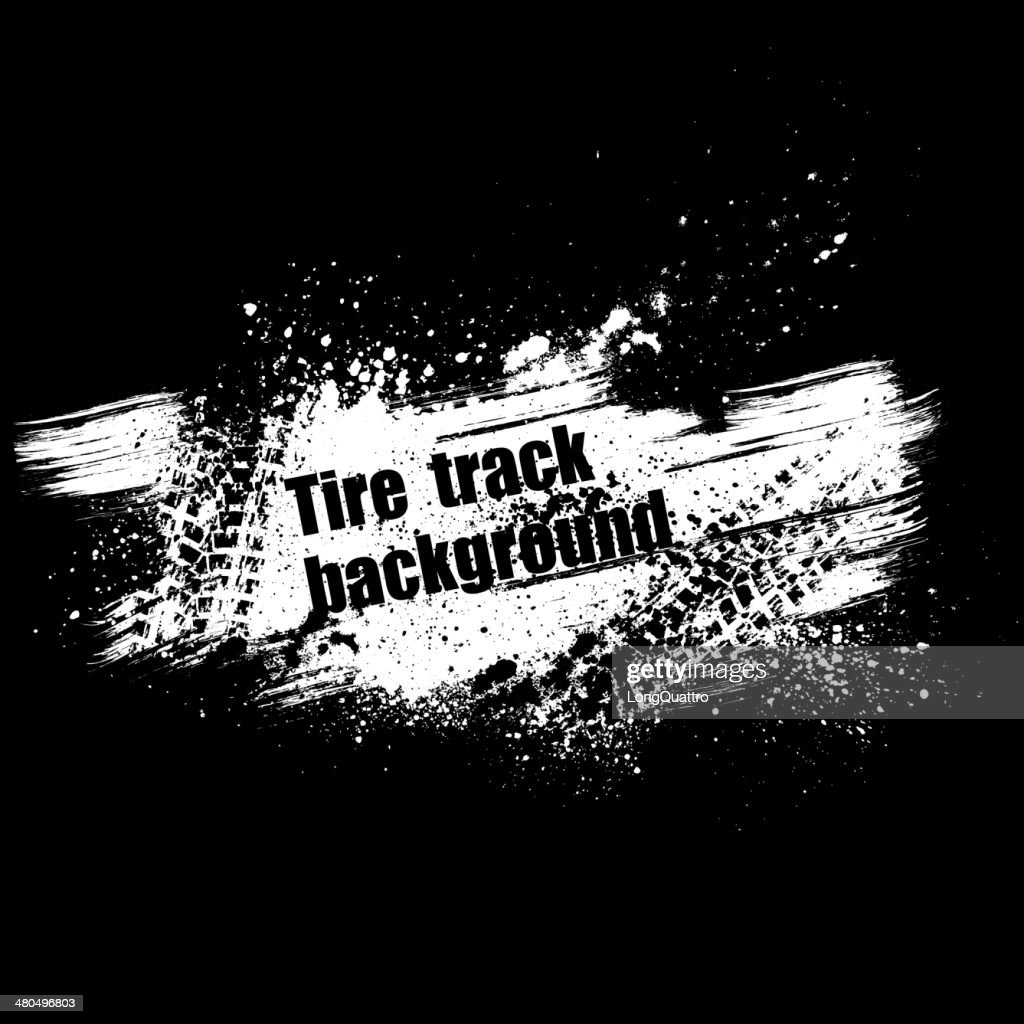 Grunge black tire track background