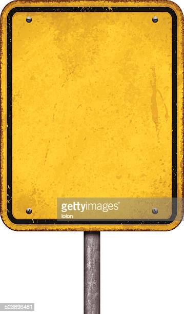 grunge blank yellow sign with black border_vector - road sign stock illustrations, clip art, cartoons, & icons