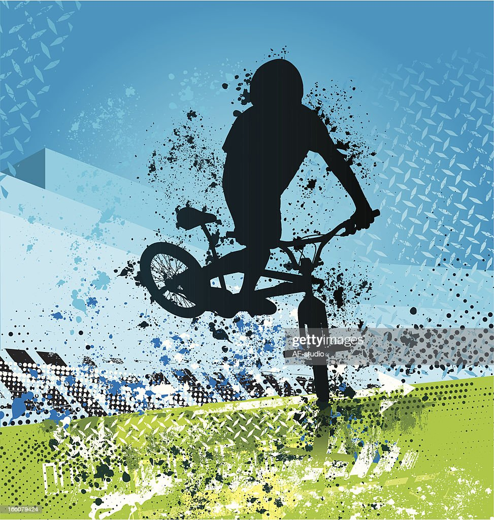 Grunge BMX biker on blue and green background