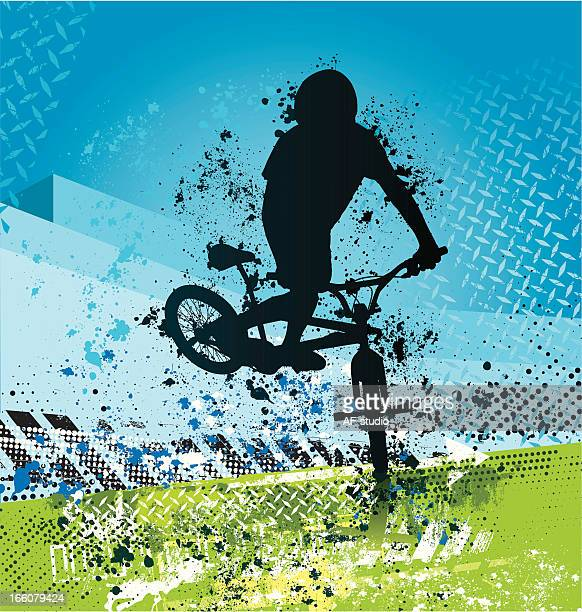 grunge bmx biker on blue and green background - bmx cycling stock illustrations