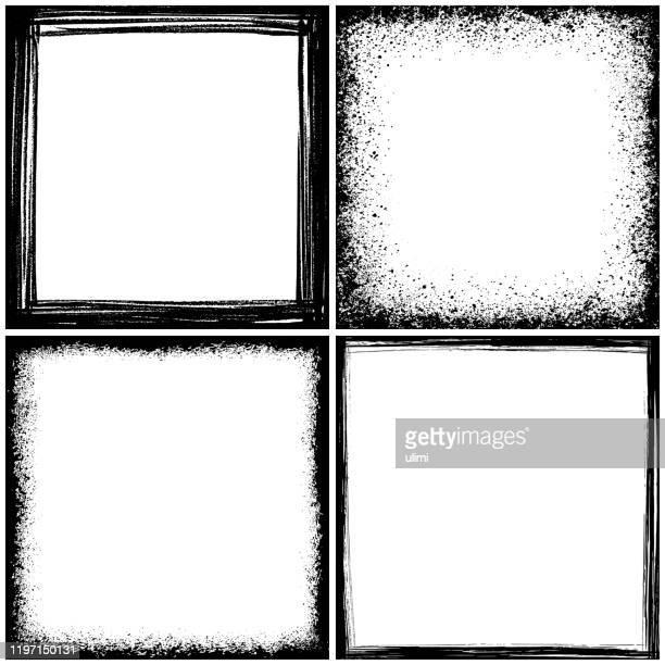 グランジボーダーフレーム - 黒枠点のイラスト素材/クリップアート素材/マンガ素材/アイコン素材