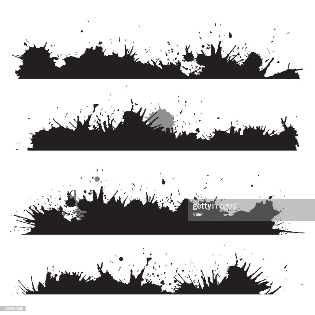 Grunge border with splashes and drops