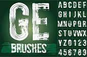 Grunge brush font available for military, construction and transportation themes