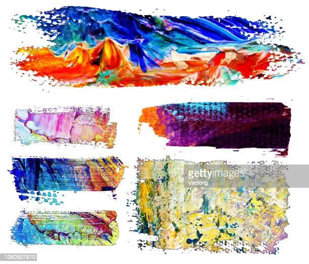 grunge brush stroke farbe boxen hintergründe - acrylmalerei stock-grafiken, -clipart, -cartoons und -symbole