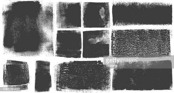 grunge brush stroke paint boxes backgrounds - shape stock illustrations