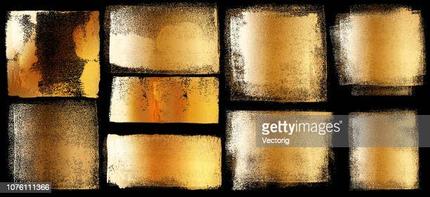 grunge brush stroke paint boxes backgrounds - gold stock illustrations