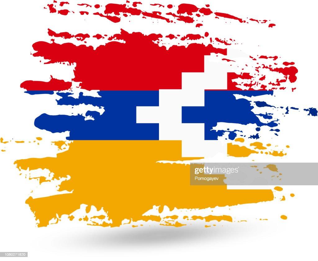 Grunge brush stroke with Nagorno-Karabakh Republic national flag