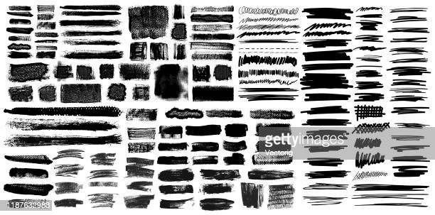 grunge brush stroke with pen scribble brushes - graphic print stock illustrations