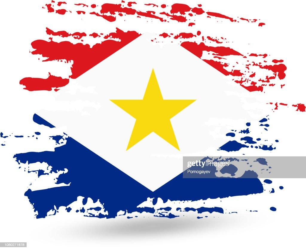Grunge brush stroke with Saba (Kingdom of the Netherlands) national flag