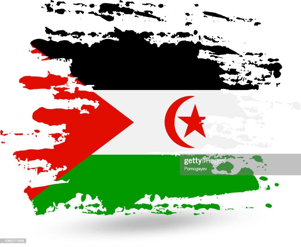 Grunge brush stroke with Sahrawi Arab Democratic Republic national flag
