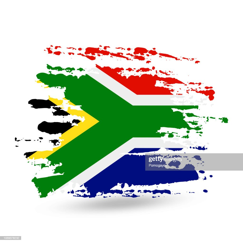 Grunge brush stroke with South African Republic national flag