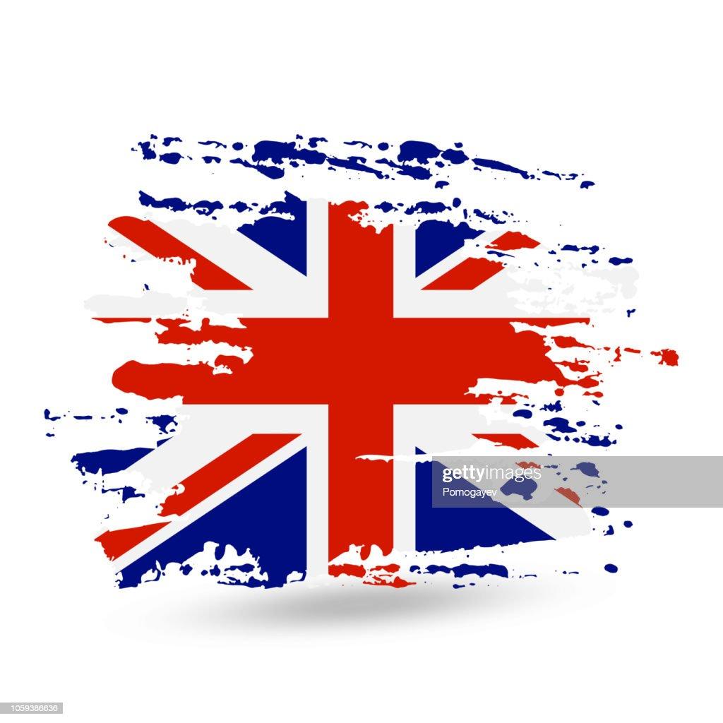 Grunge brush stroke with United Kingdom national flag