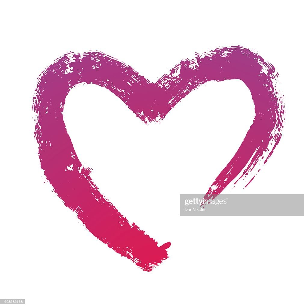 Grunge brush strokes, purple heart symbol