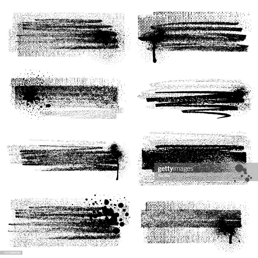 Grunge brush strokes with splashes : Stock Illustration