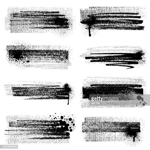 grunge brush strokes with splashes - half tone stock illustrations