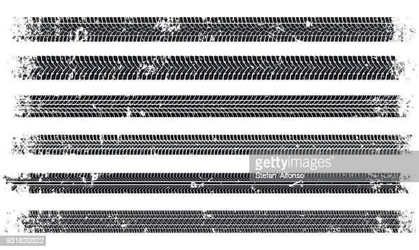 grunge auto verfolgt spuren - kunstdruck stock-grafiken, -clipart, -cartoons und -symbole