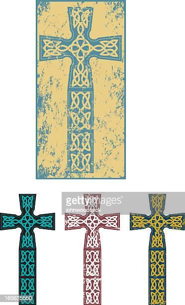 grunge celtic cross - celtic cross stock illustrations, clip art, cartoons, & icons