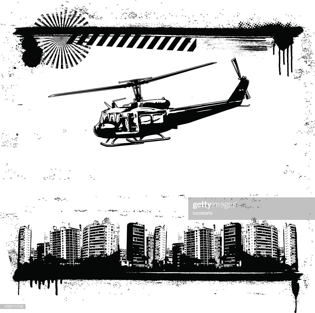 grunge city framework with helicopter