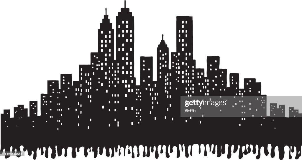 Grunge City Skyline silhouette illustration