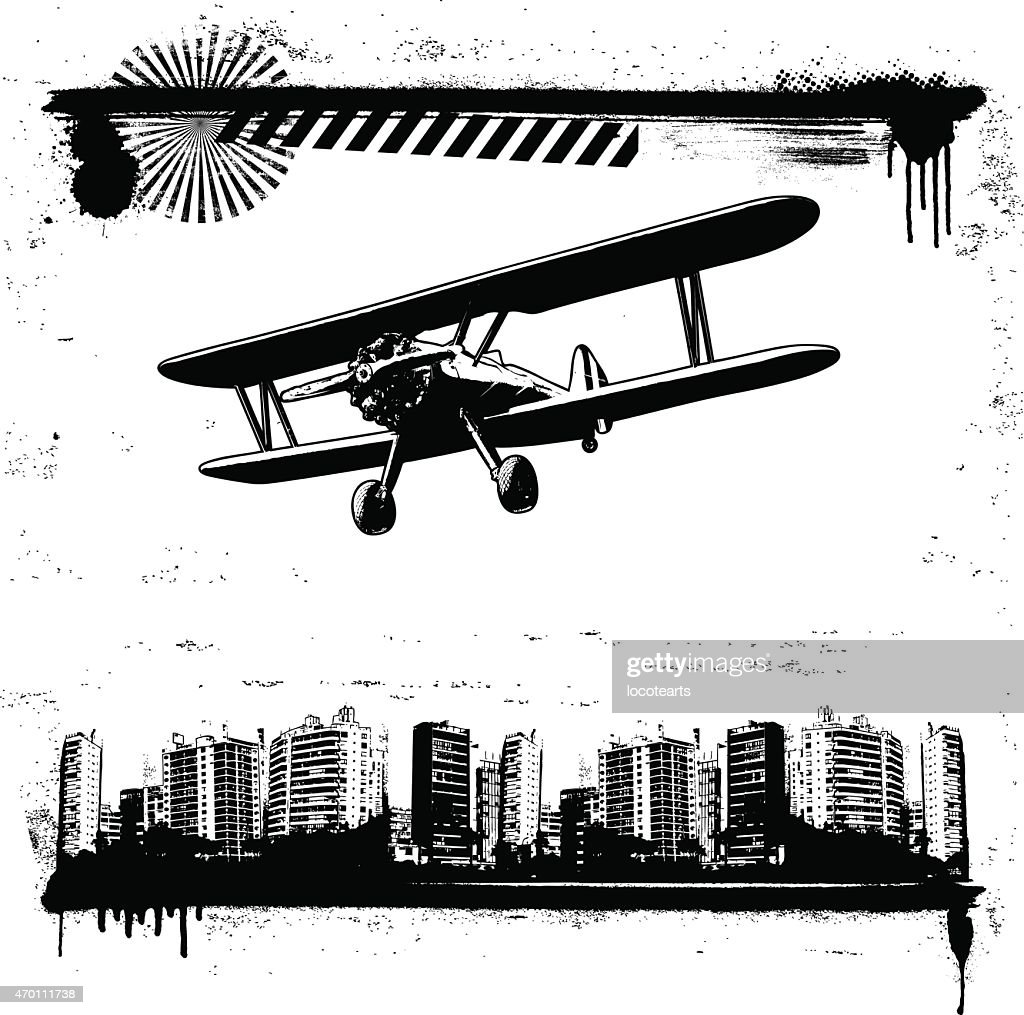 grunge cityscape frame with plane flying