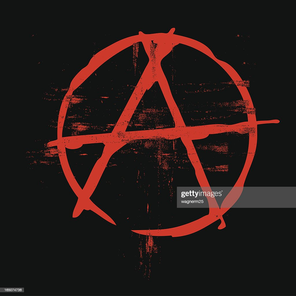 Grunge classic anarchy symbol in black and red colors