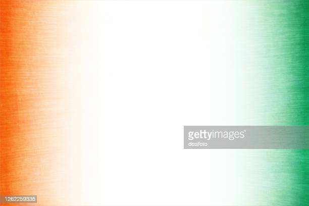 grunge crepe paper textured vector tricolour faded background with three vertical bands in orange or saffron, white and green colours - indian flag stock illustrations