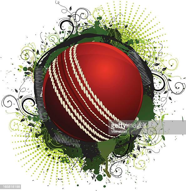 grunge cricket ball - cricket ball stock illustrations