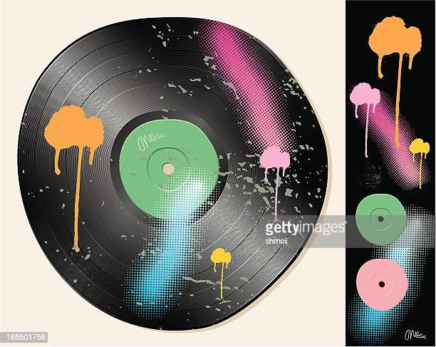 grunge crooked vinyl disc.gramophone record. - sneering stock illustrations, clip art, cartoons, & icons
