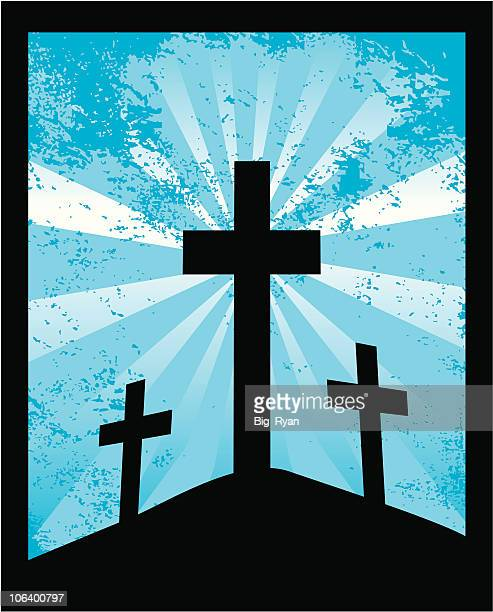grunge cross - resurrection religion stock illustrations, clip art, cartoons, & icons