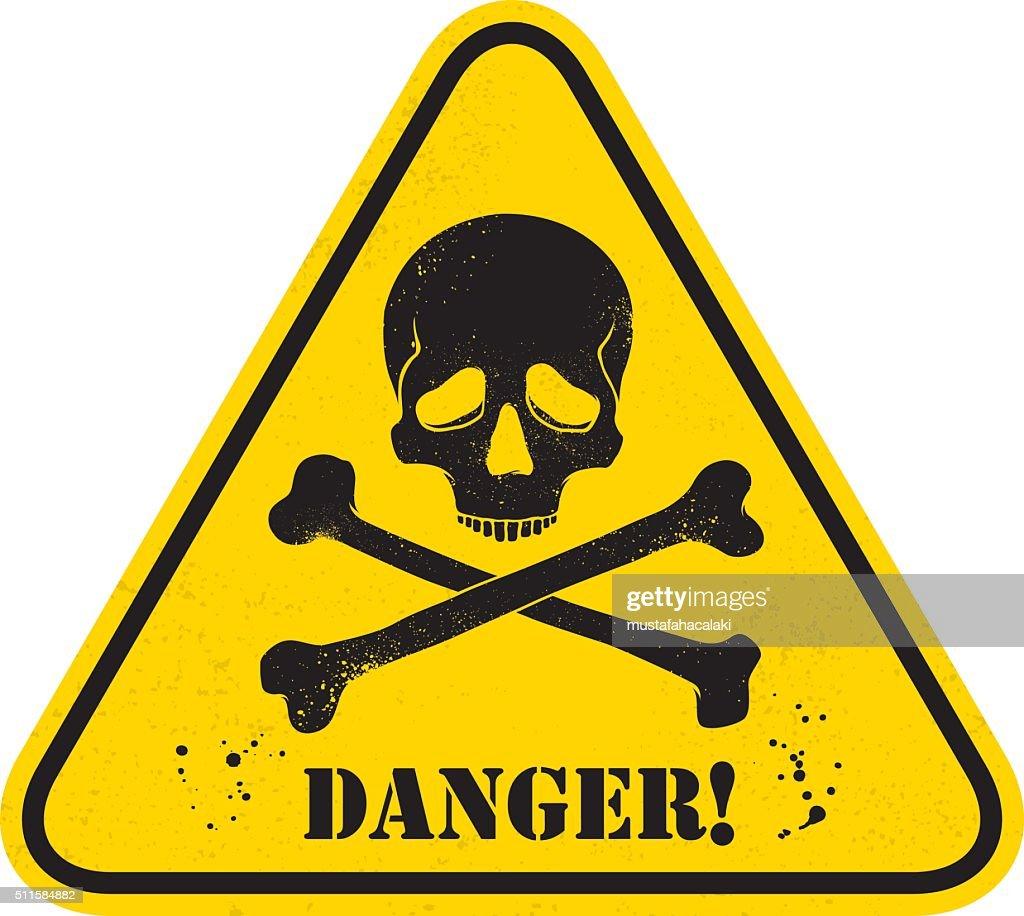 Grunge danger skull placard