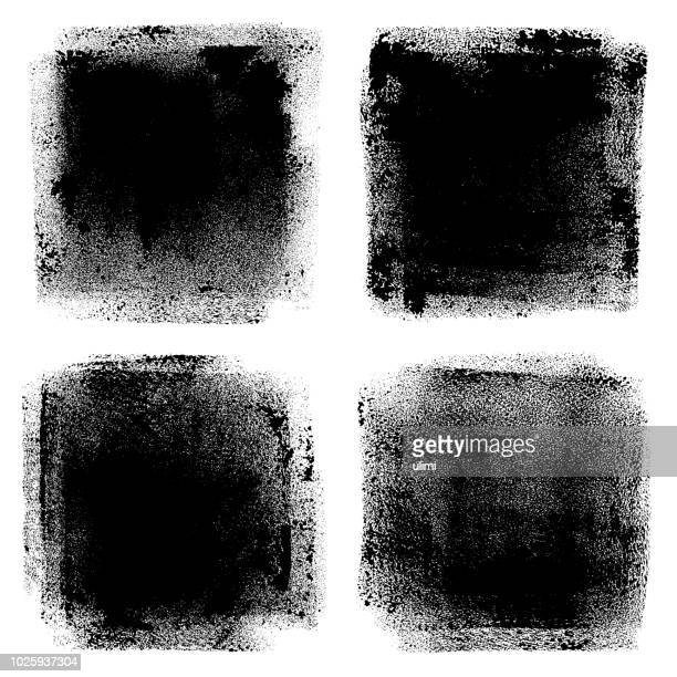 grunge design elements. paint roller strokes - square stock illustrations