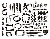Grunge design elements set. Brush strokes and borders. Vector Illustration