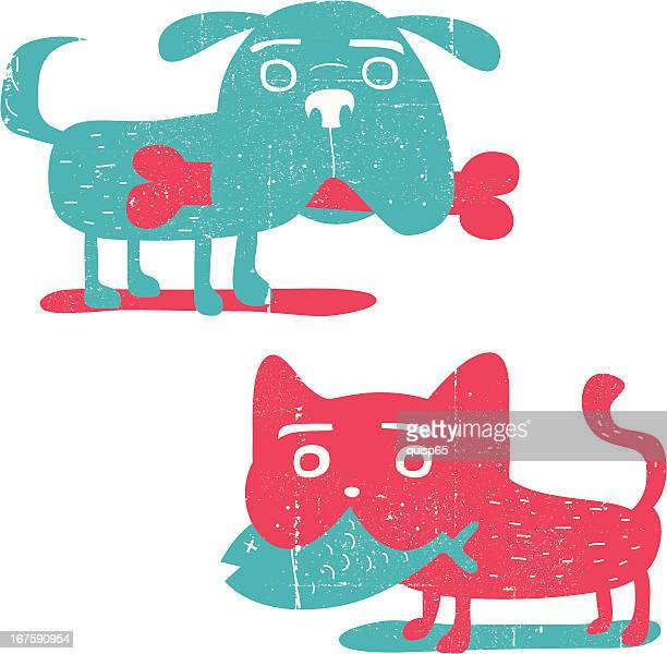 grunge dog and cat - dog eating stock illustrations, clip art, cartoons, & icons