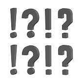 Grunge doodle sketch question marks. Exclamation marks vector illustration