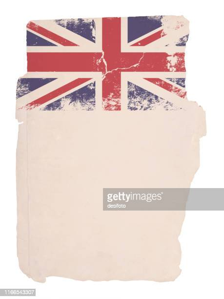 illustrations, cliparts, dessins animés et icônes de un effet grunge a fané l'illustration verticale de vecteur rutted du drapeau britannique, union jack avec l'espace blanc pour le texte. - brexit