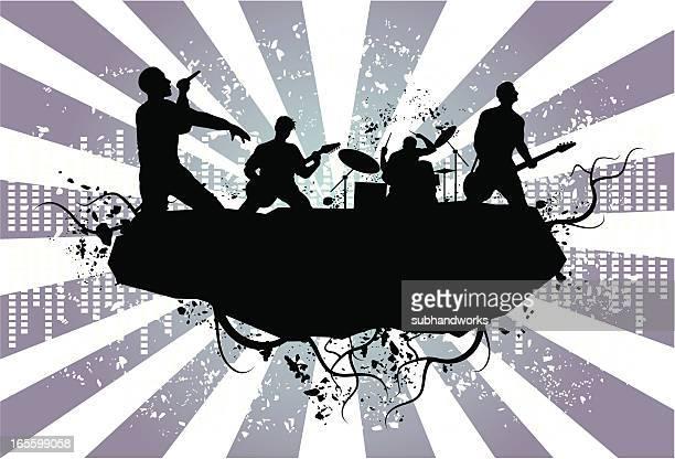 grunge element - rock band stock illustrations