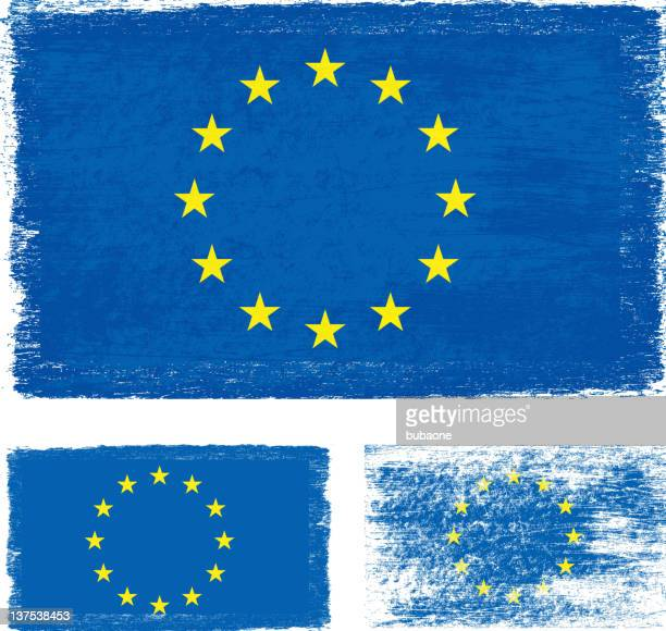 grunge european union flag - modern rock stock illustrations