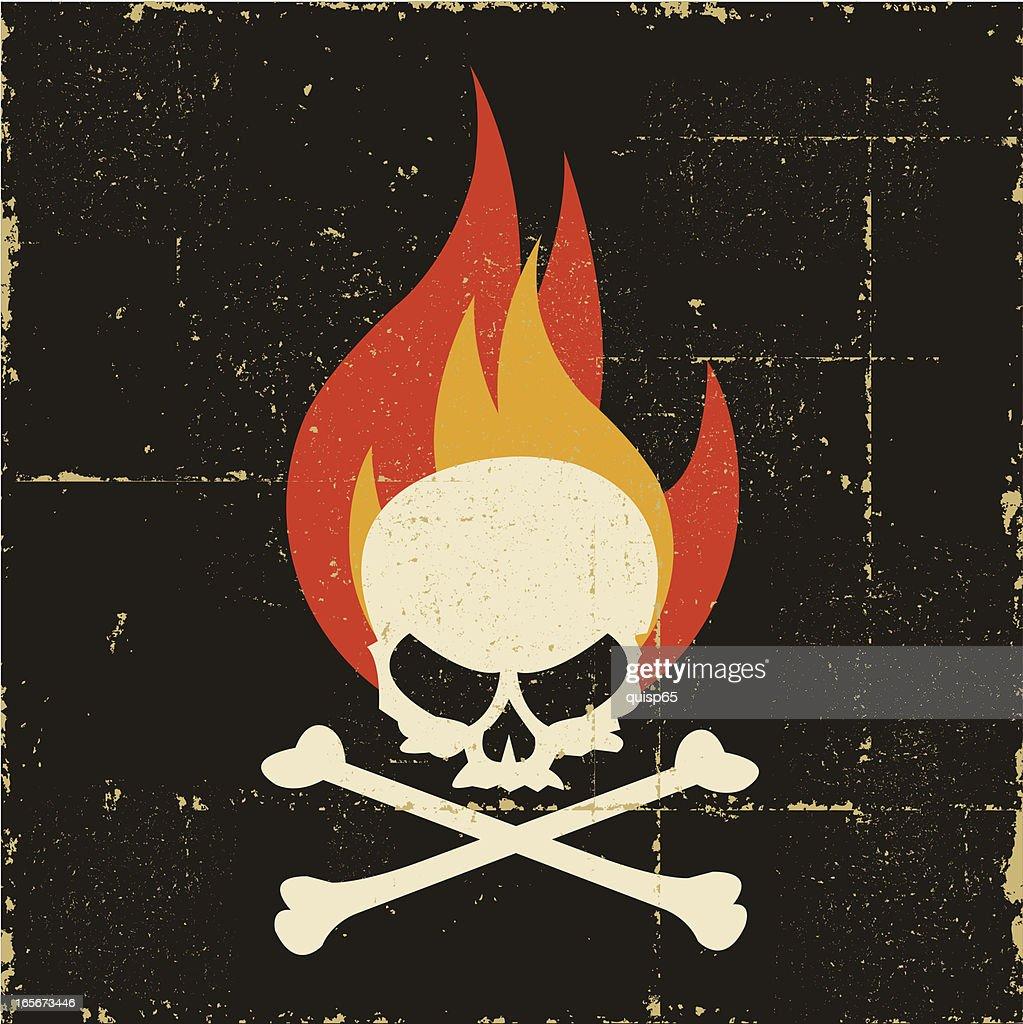 Grunge Fire Skull and Crossbones