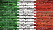 Grunge flag of Italy on a brick wall