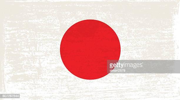 grunge flag of japan - japanese flag stock illustrations, clip art, cartoons, & icons