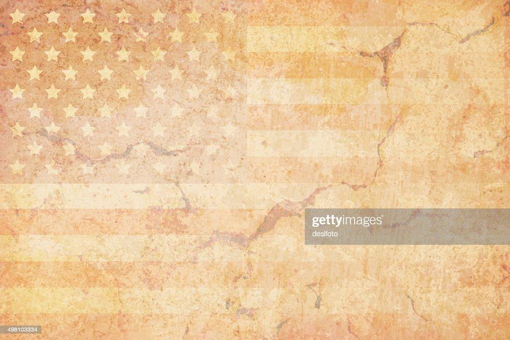 USA grunge flag on a grunge wall