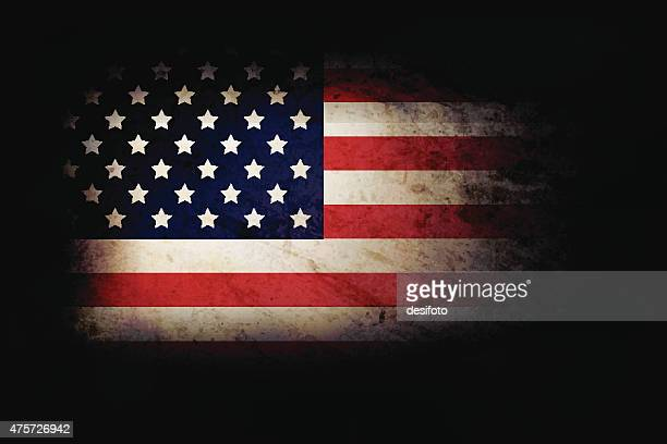 usa grunge flag over dark base - run down stock illustrations, clip art, cartoons, & icons