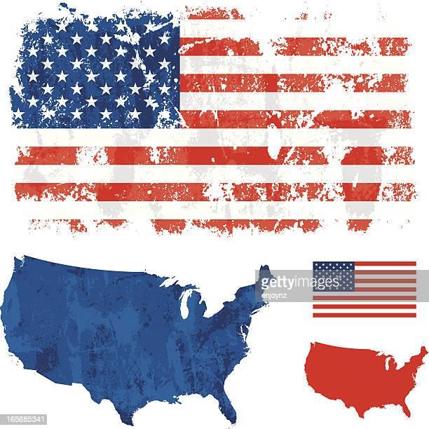 usa grunge flag - weathered stock illustrations