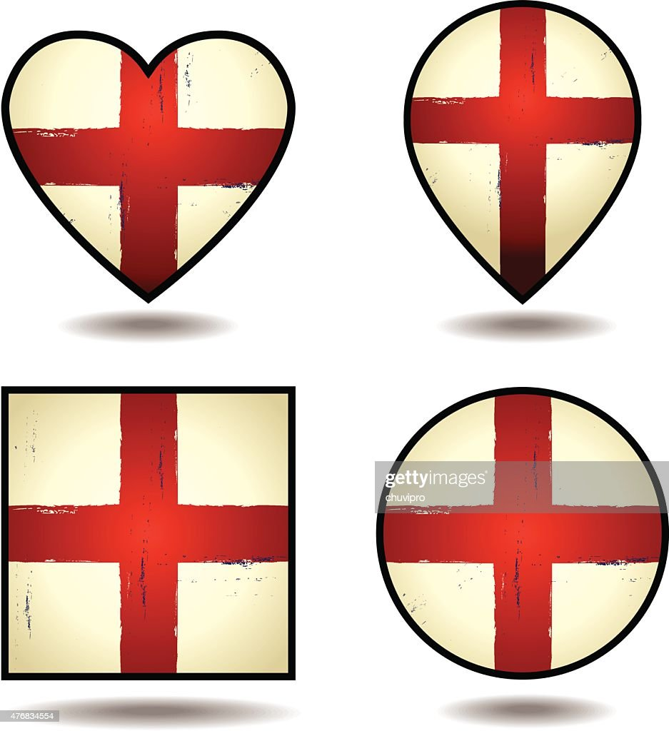Grunge Flags of England Set of icons : stock illustration