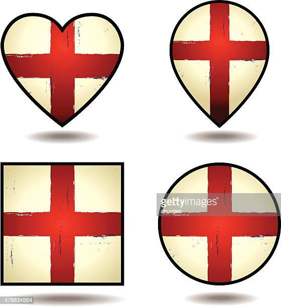 grunge flags of england set of icons - card file stock illustrations, clip art, cartoons, & icons