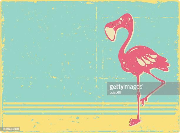 grunge flamingo background - flamingo stock illustrations, clip art, cartoons, & icons